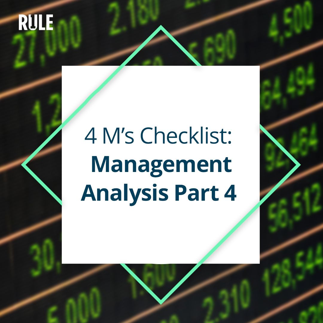 276- Four Ms Checklist: Management Analysis Part 4