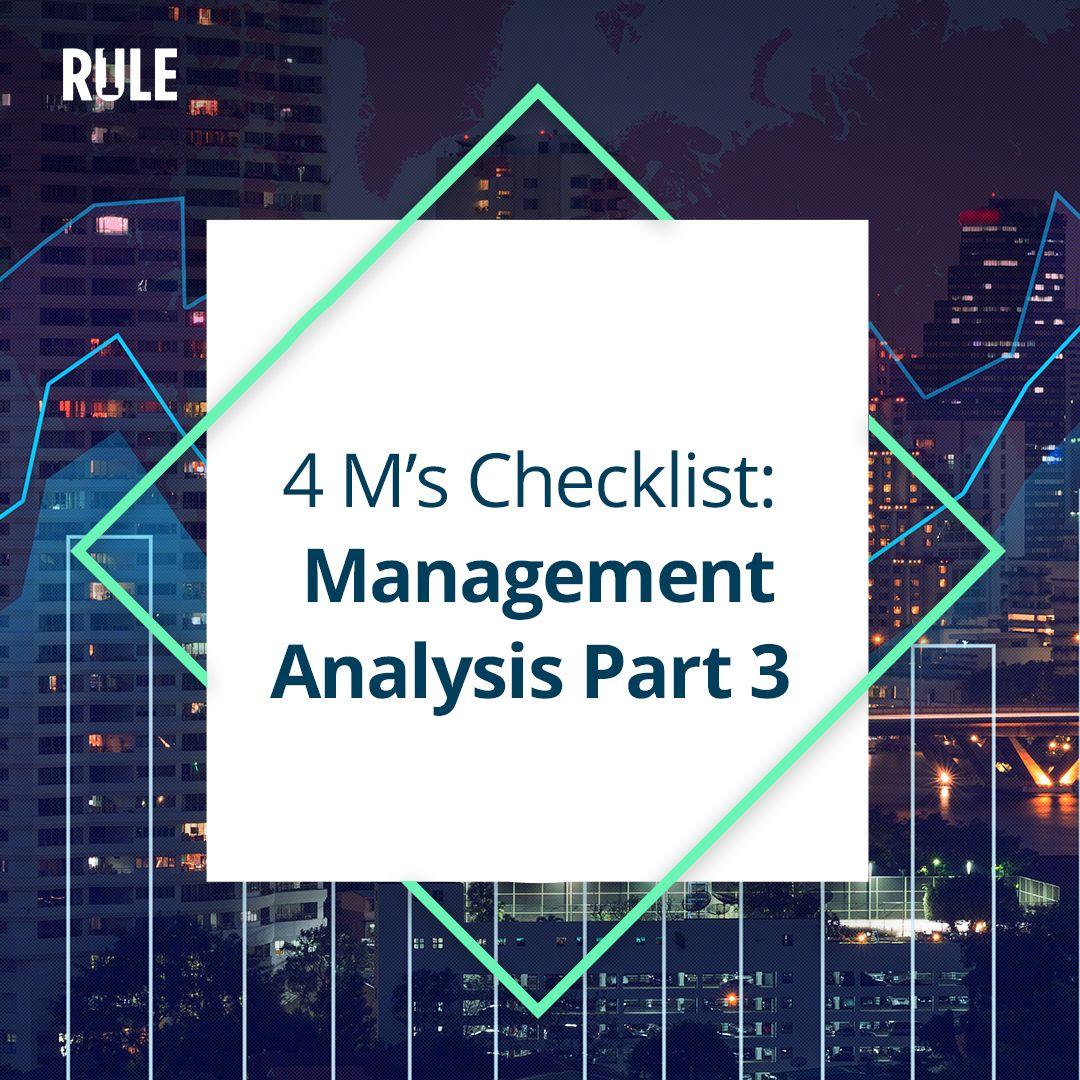 273- Four Ms Checklist: Management Analysis Part 3